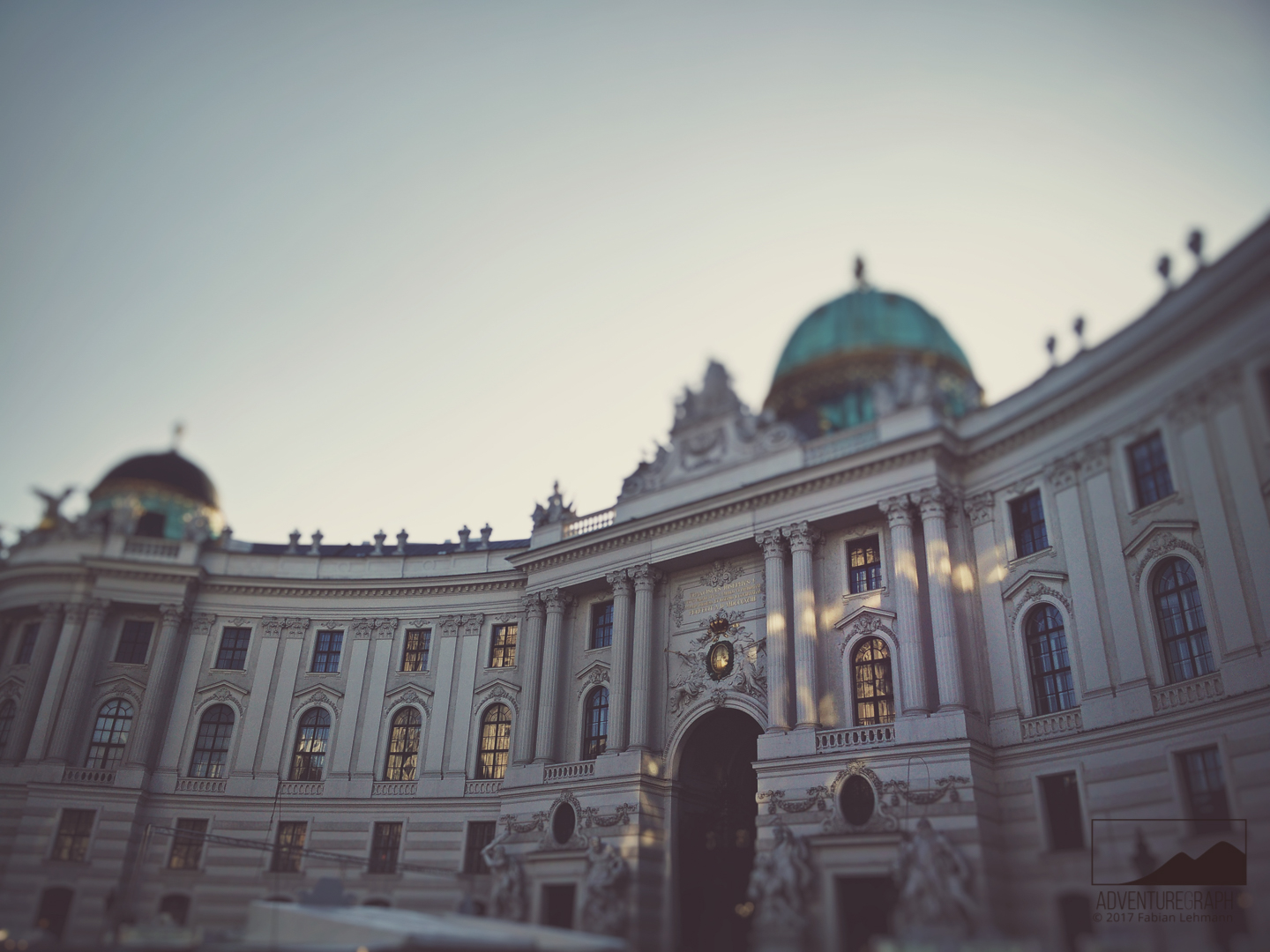 Creative advertisement for tourism: The city building Hofburg in Vienna.