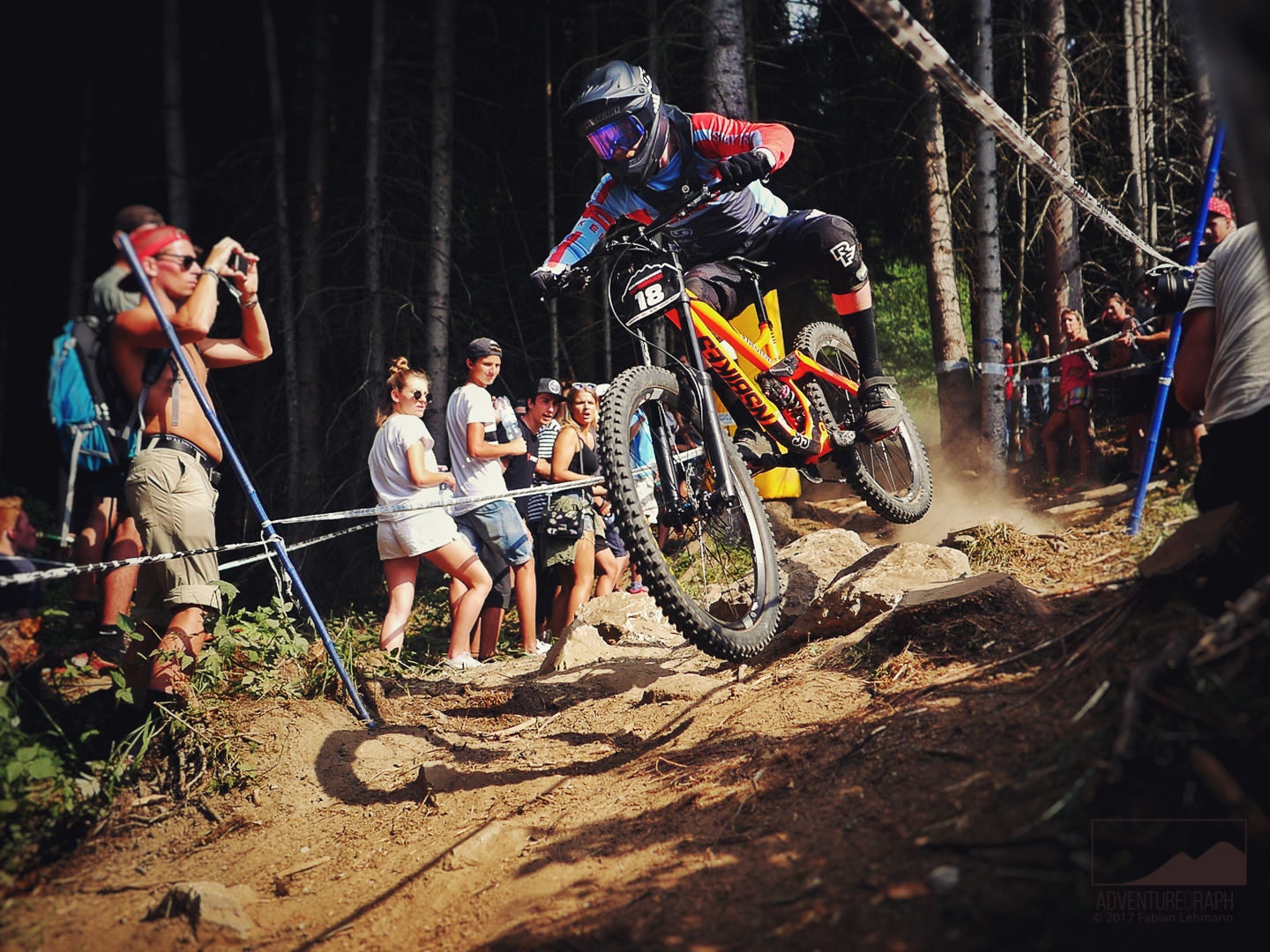 Available for everyone, photo of the downhill bike race at Innsbruck Crankworx in the summer.