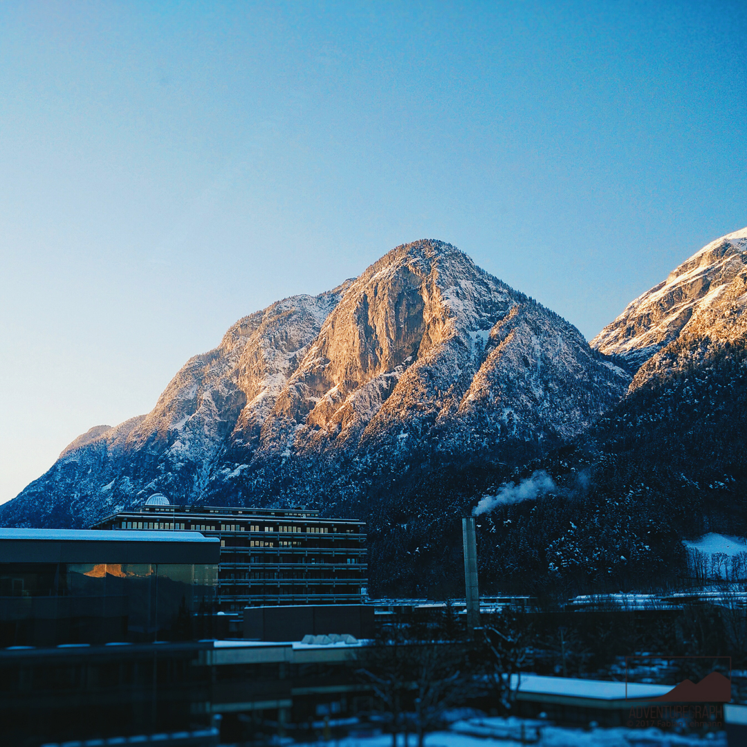 A vision of winter mountains in Innsbruck.